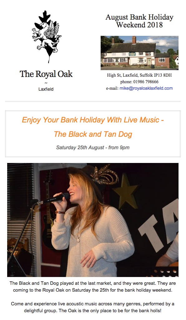 Aug Bank Holiday At The Royal Oak